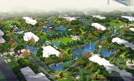 [山西]现代中式皇家园林风格住宅景观设计方案(独家首发)-皇家园林风格住宅鸟瞰效果图