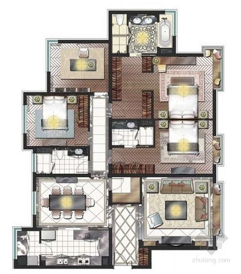 [河北]旅游胜地典雅欧式风格四居室公寓室内设计方案