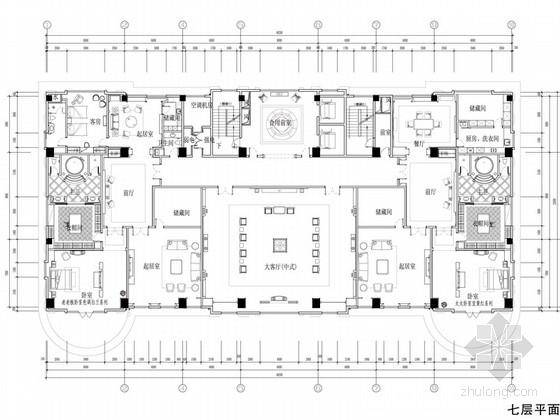 [苏州]奢华欧式风格商务会所七层客房区室内装修图(含效果)