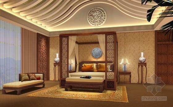 [河北]奢华古典山水园林式宾馆精装修设计方案图夫人卧室效果图