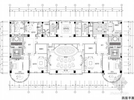[苏州]奢华欧式风格商务会所四层卧室休息区室内装修图(含效果)