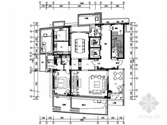 [上海]滨江黄金水岸精装高档两层别墅装修施工图(含效果)