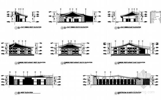 [河南]传统中式风格园林景观式酒店建筑设计方案文本-传统中式风格园林景观式酒店立面图