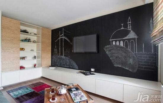 客厅背景墙也爱耍大牌你家客厅hold住吗?-黑板也可以做背景墙,这样的开放式背景墙更多地发挥了一种创意。黑板上的粉笔画和涂鸦,天然成为了电视机的背景,灵活生动又充满趣味。
