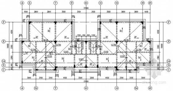 四联排上山框架结构别墅结构施工图(2012新图纸,4层坡屋面)