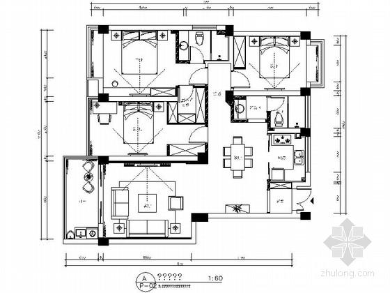 [浙江]北欧风格花园式三居室室内装修施工图