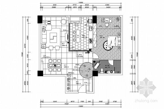 现代中式红色风格一居室装修施工图(含效果图)