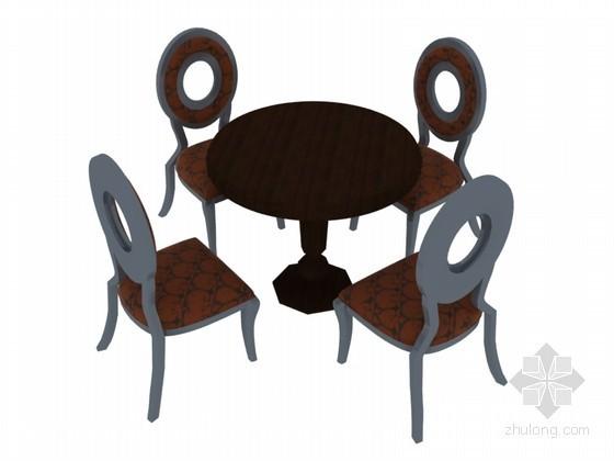 欧式圆桌椅3D模型下载
