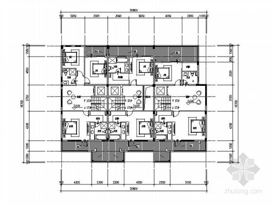 [四川]三层阶梯状别墅建筑施工图(含多套方案)-三层阶梯状别墅建筑平面图