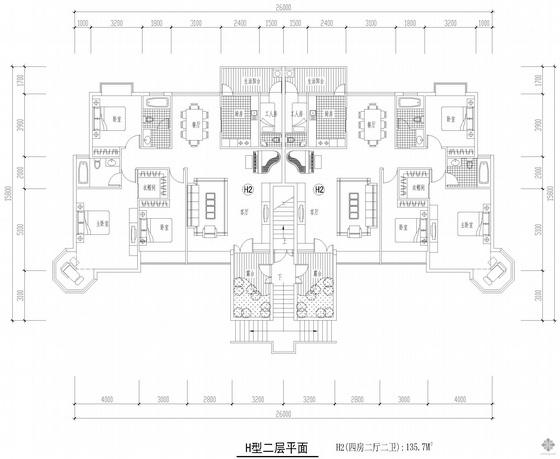 板式多层一梯二户四房二厅二卫户型图(136/136)