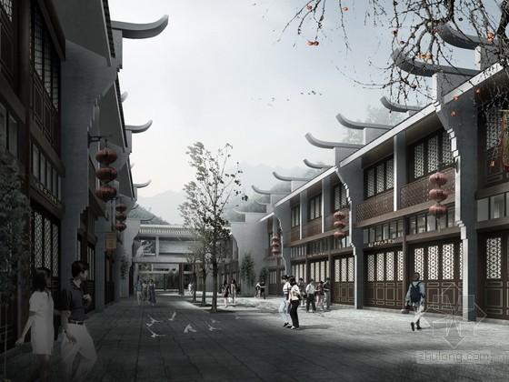 仿古街建筑规划psd分层素材