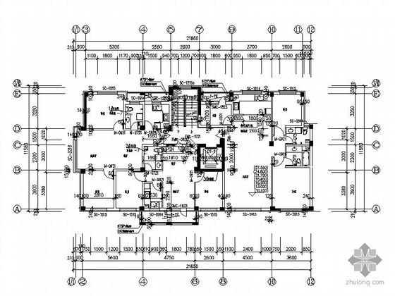塔式高层一梯三户户型图(240)