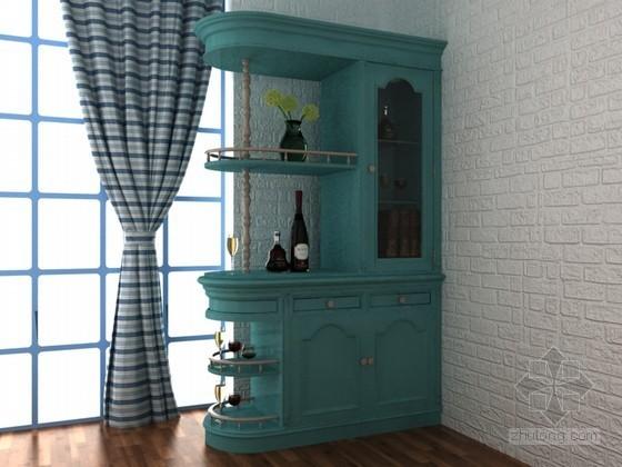 美式乡村酒柜3D模型下载