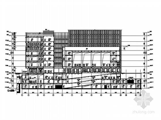 [天津]245米超高层玻璃幕墙金融大厦设计施工图-245米超高层玻璃幕墙金融大厦剖面图