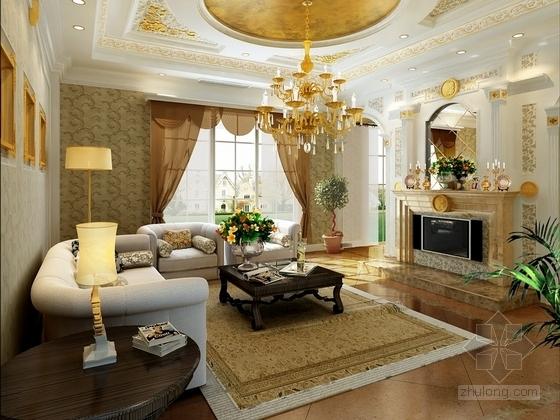 [重庆]古典风格三层别墅室内装修图(含效果) 客厅效果