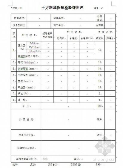 市政工程分项工程质量检验评定表