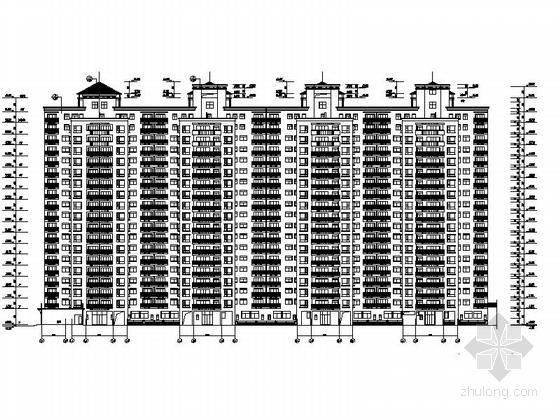 [深圳]古典风格城镇中心地块高层商住两用建筑施工图-古典风格城镇中心地块高层商住两用建筑立面图
