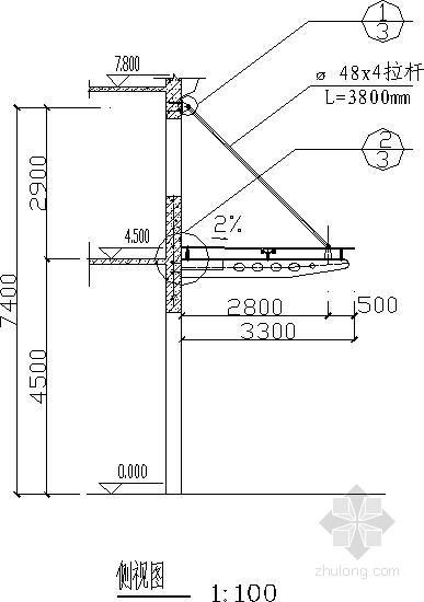 办公楼改造轻钢雨蓬结构施工图
