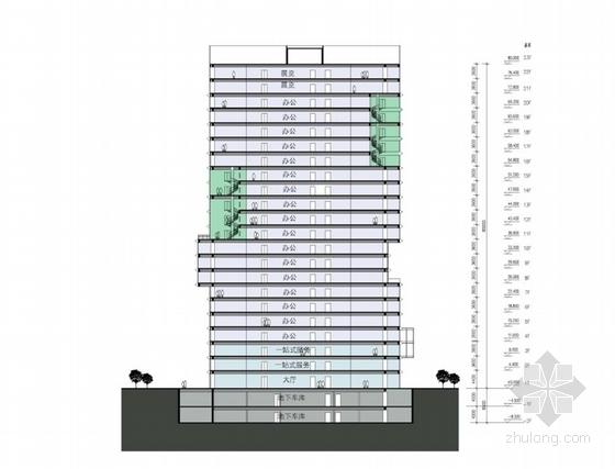 [广东]高层半围合式骑楼布局办公大厦建筑设计方案文本-高层半围合式骑楼布局办公大厦建筑剖面图
