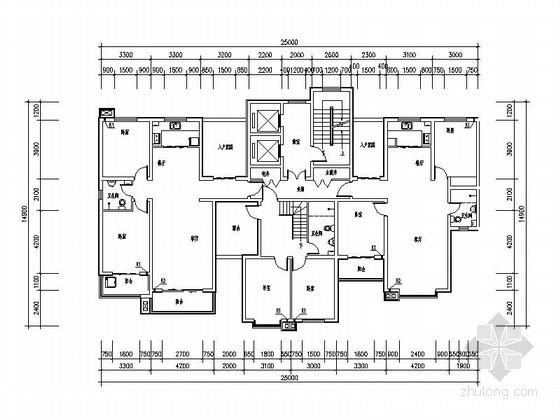 小高层住宅一梯三户型平面图(带入户花园)