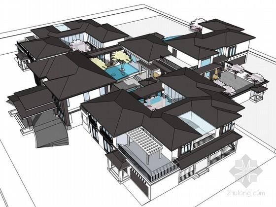 中式四合院会所SketchUp模型
