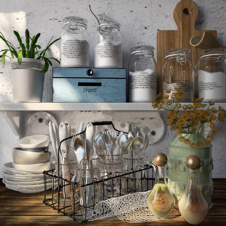 美式乡村厨房桌面零件3D模型