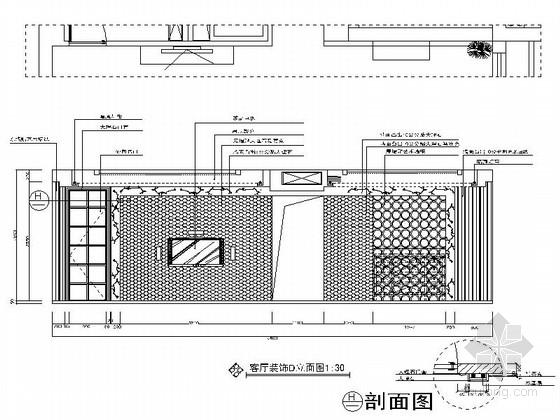 [广州]世纪广场典雅四居室样板间装修施工图客厅立面图