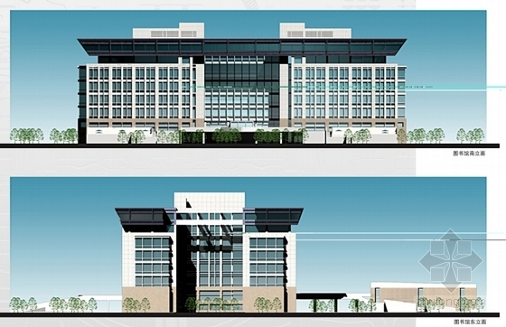 [河南]现代风格校区总图规划设计方案文本-现代风格校区总图规划立面图