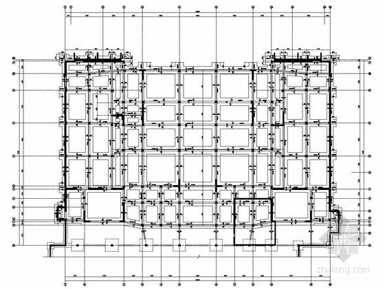[新疆]三层四区框架剪力墙结构回字形酒店结构图(带阁楼)