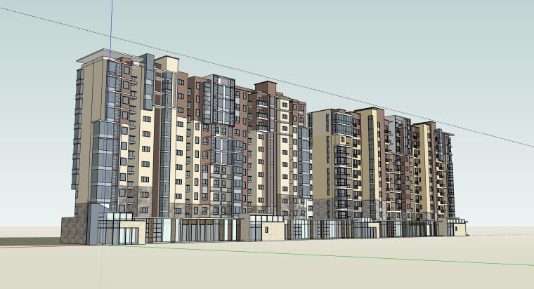 小高层和商业拼图方案建筑设计模型