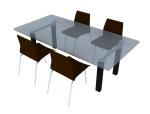 简洁餐桌椅3D模型下载