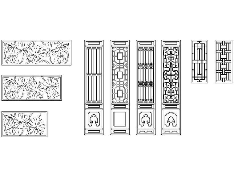 cad古建筑门窗及围墙图库