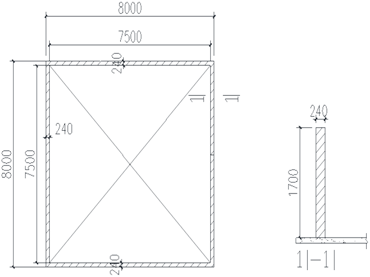 甘肃知名酒店塔吊基础施工方案-ST553、S450、ST7030塔吊基础砖胎模示意图