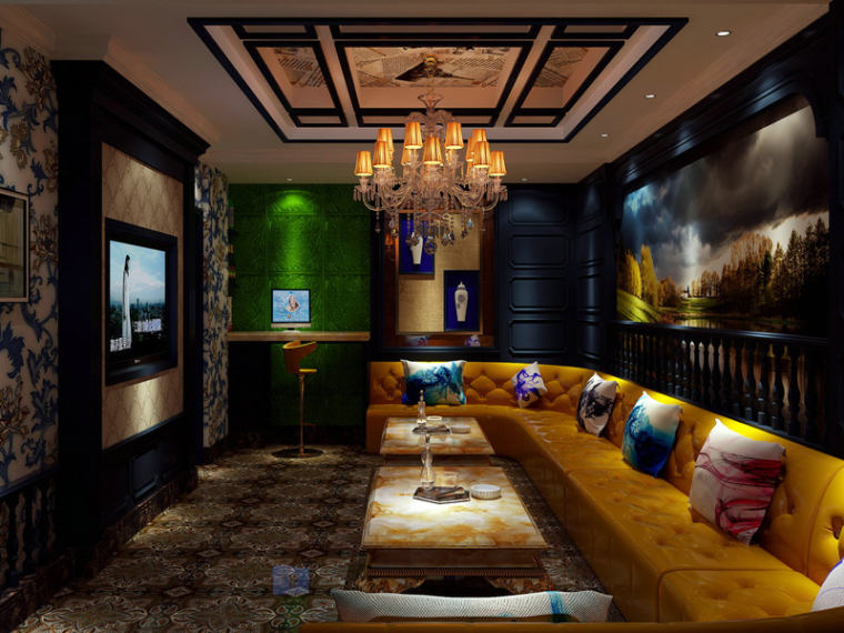欧式家具模型资料下载-欧式舒适练歌房3D模型下载