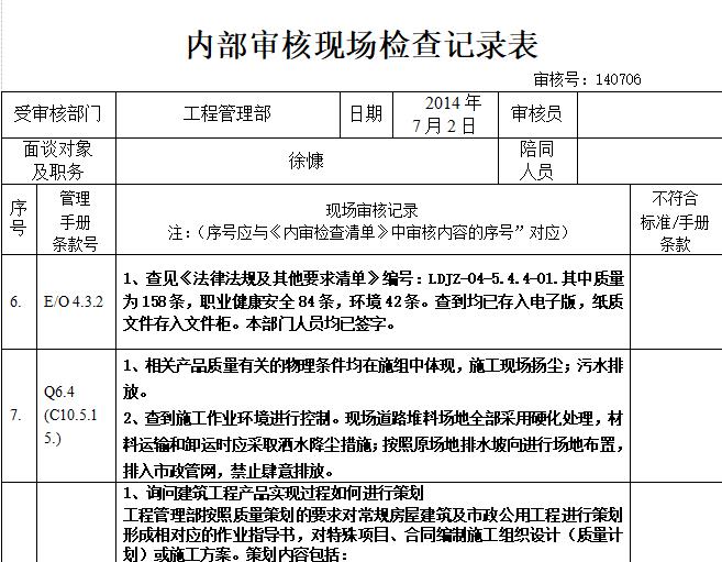 工程部内部审核现场检查记录表