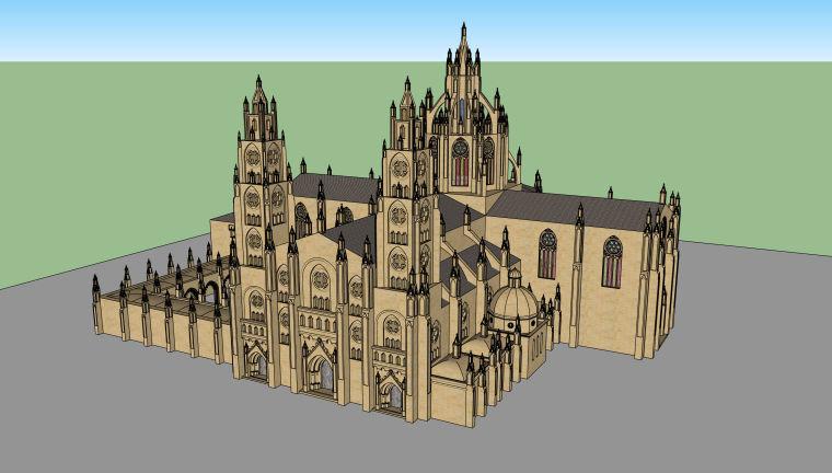 哥特式教堂建筑设计模型