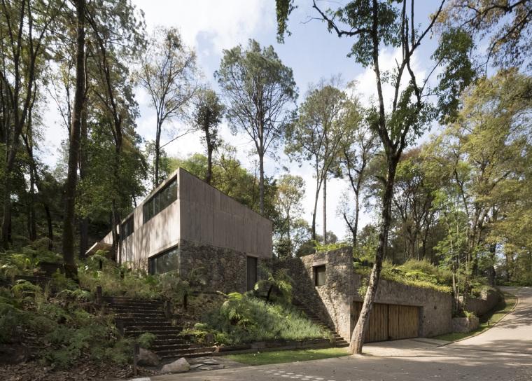 墨西哥浸润在绿意中的L型体量住宅外部实景图