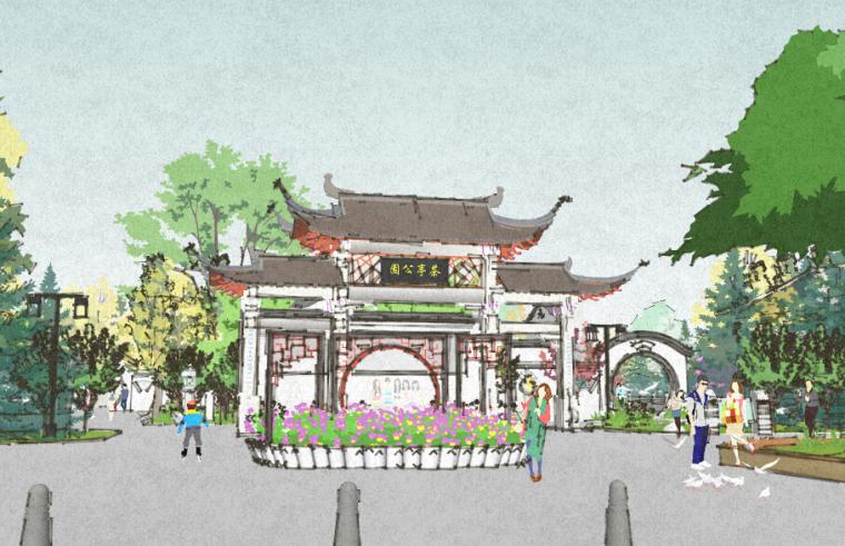 茶亭公园景观SU模型(中式)