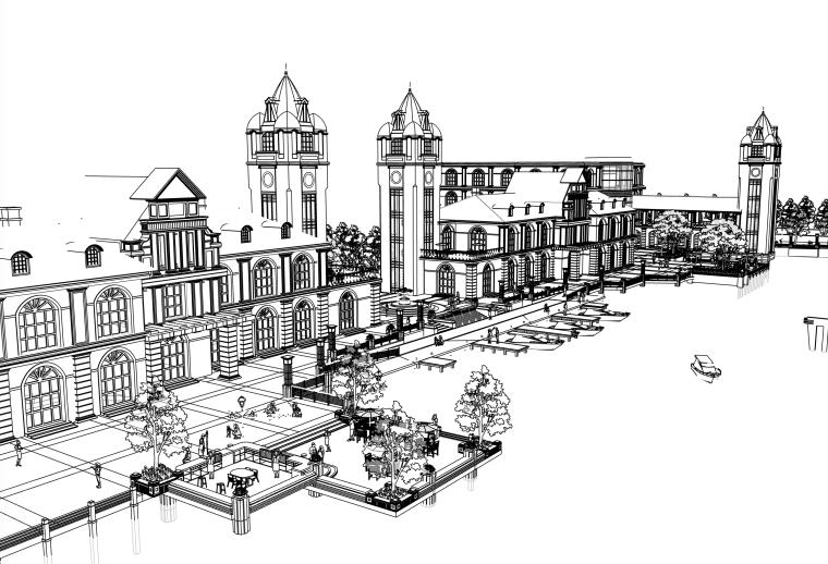 滨湖商业街景观建筑设计SU模型