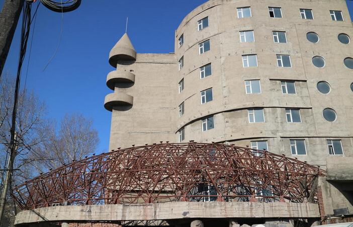 农村豪宅建了20年后停工,酷似鸟巢_1