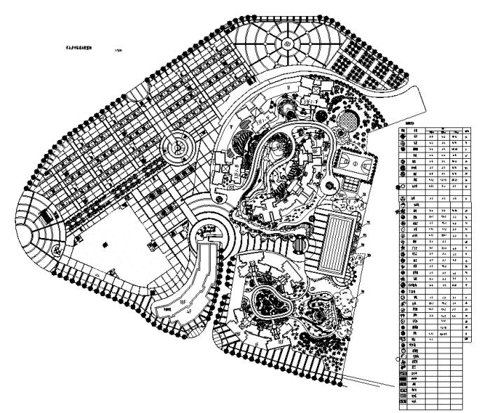 园林各类绿地景观设计CAD平面图346套(赠送CAD素材图库)-某广场绿化总平面图