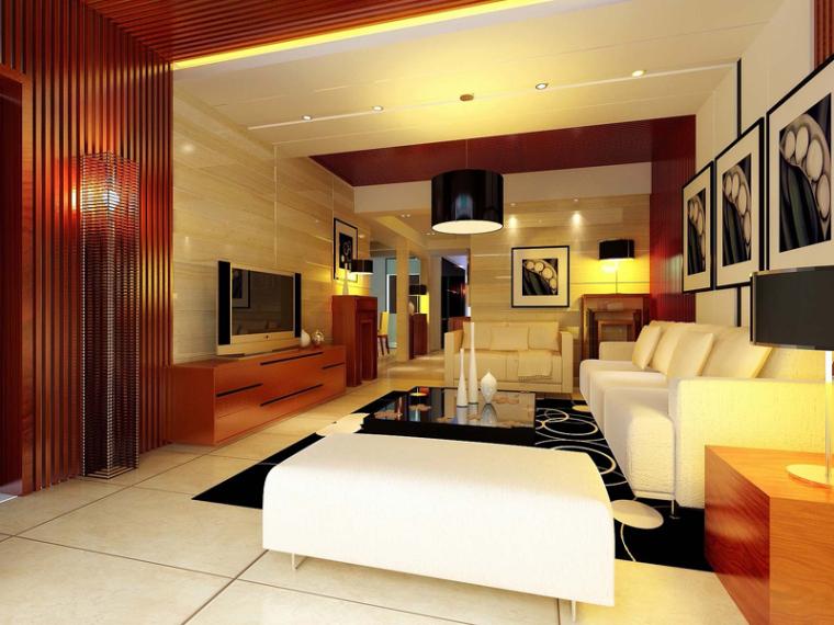 港式客厅3D模型下载_1