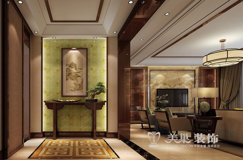 鑫苑世家装修样板间效果图新中式入户门设计