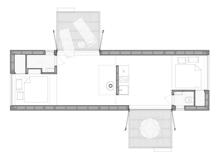 比利时能移动的生态小木屋平面图(8)