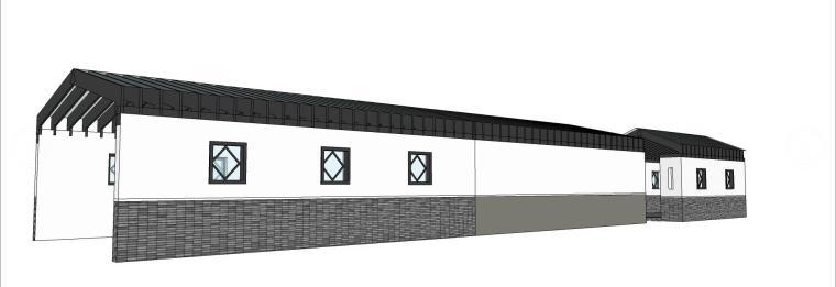 中式双向廊架SU模型设计