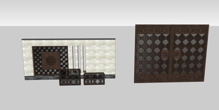 园林景墙庭院景观SU模型设计(10个su模型)_1
