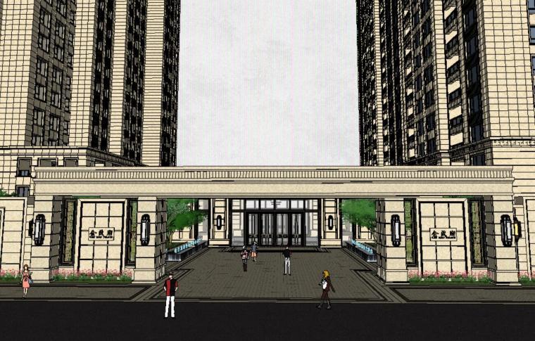 金茂府居住区小区景观SU模型设计(新中式风格)