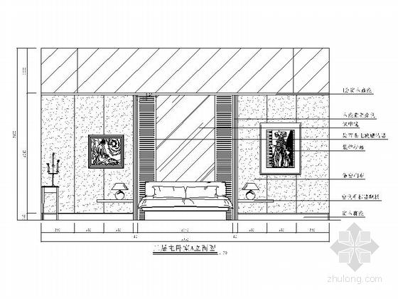 [苏州]风景秀丽生态园区A2型欧式风情三层别墅装修施工图主卧立面图