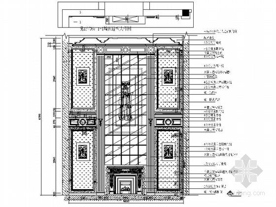 [上海]鸟语花香古典欧式风格独栋别墅样板间装修施工图(含高清实景)客厅立面图