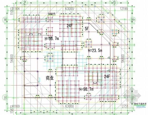 [山西]24层框架办公楼钻孔灌注桩基础及抗拔桩设计施工图